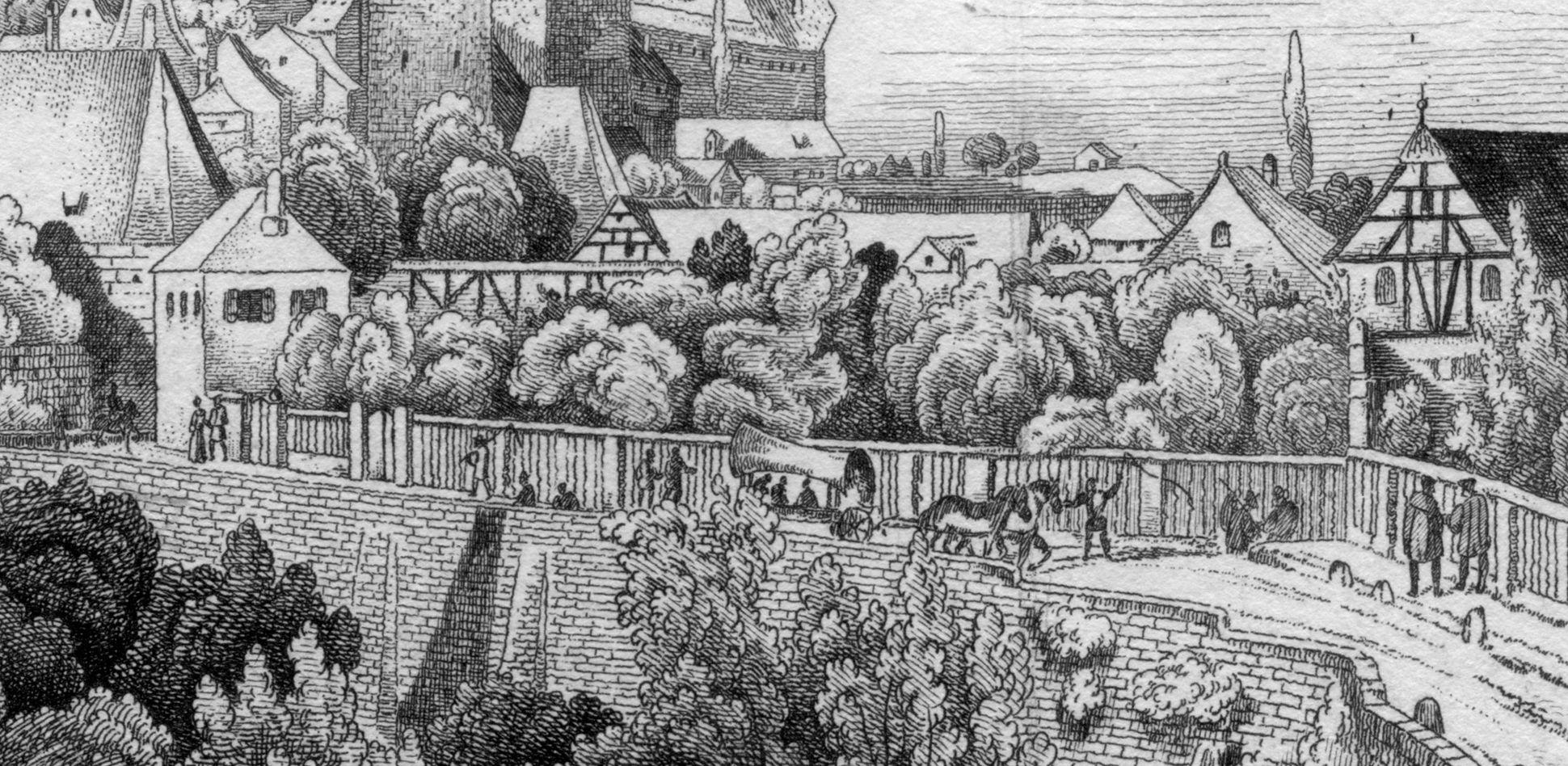An der Stadtmauer hinter der Vesten Detailansicht mit Staffage