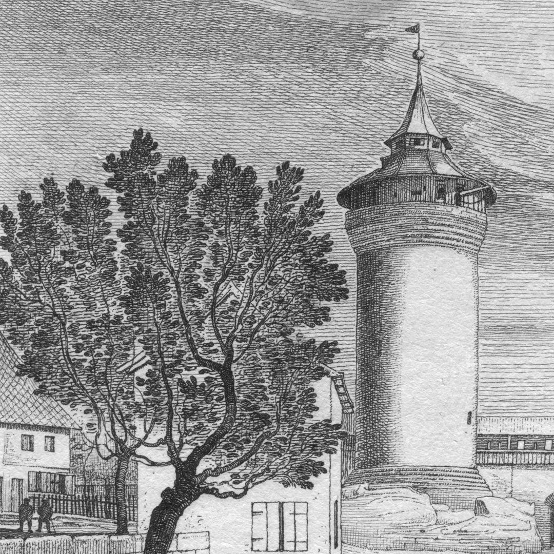 Aussicht vor dem Burgthore Brunnenhaus und Sinwellturm