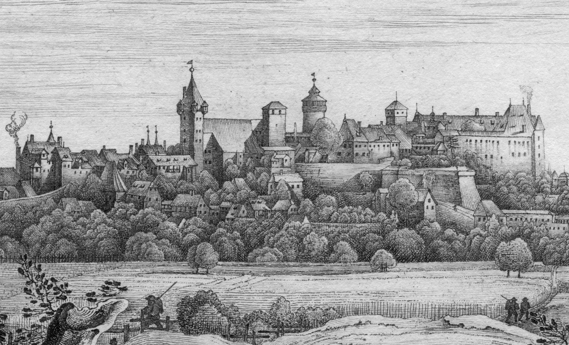 Die Burg von der Mitternacht-Seite Stadt- und Burgsilhouette von Norden
