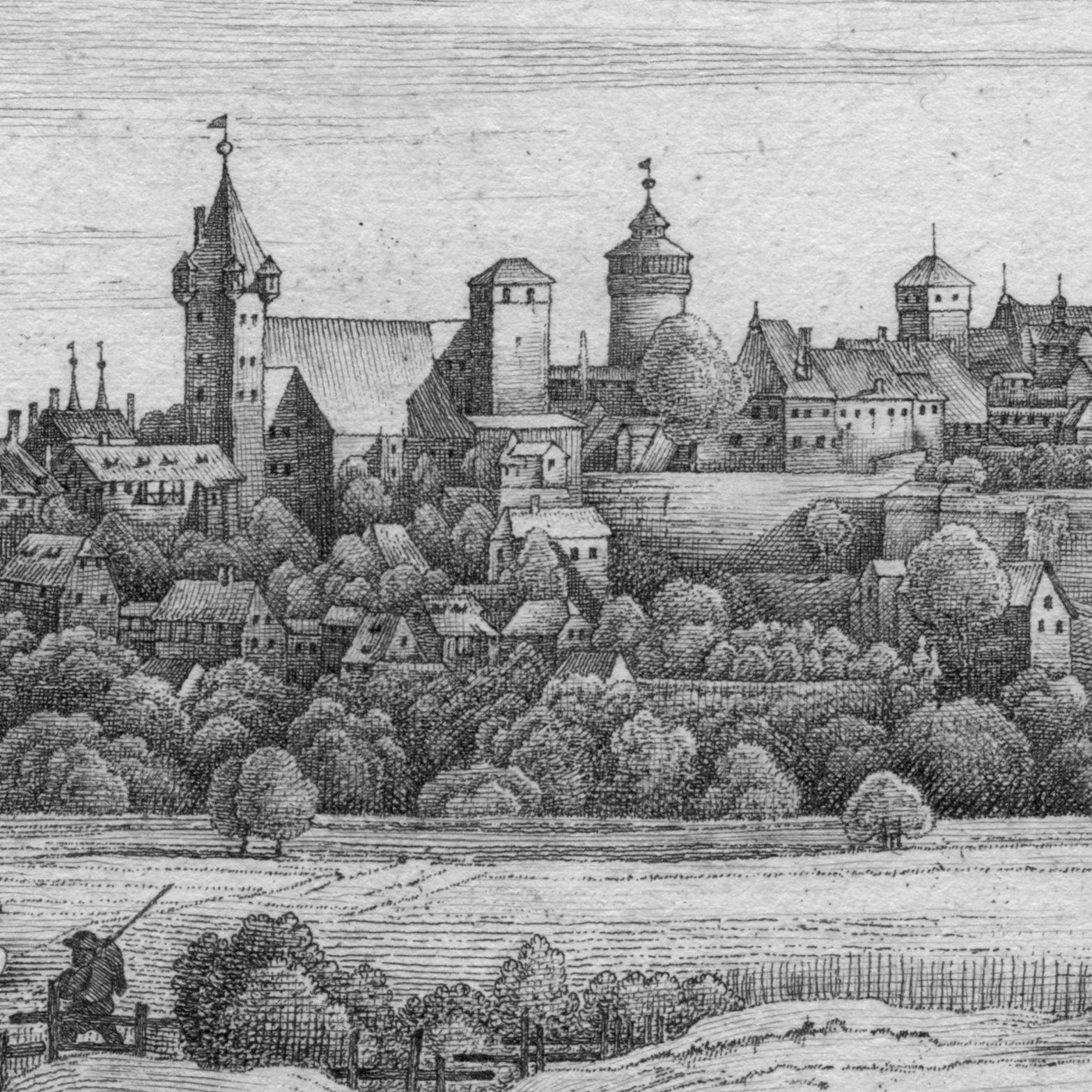 Die Burg von der Mitternacht-Seite Detailansicht mit Luginsland, Kaiserstallung, Fünfeckturm, Sinwellturm und Heidenturm