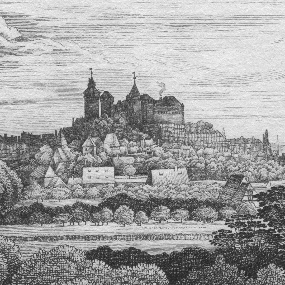 Die Burg von der Morgen-Seite Detailansicht mit Burg