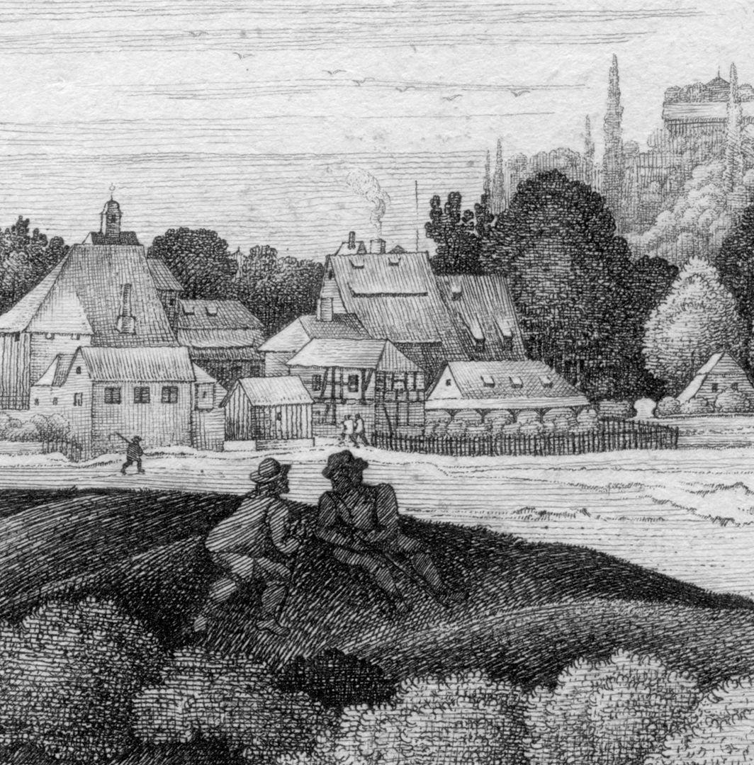 Die Burg von Süd-West links Großweidenmühle, im Hintergrund Dachreiter der Heiligkreuzkirche
