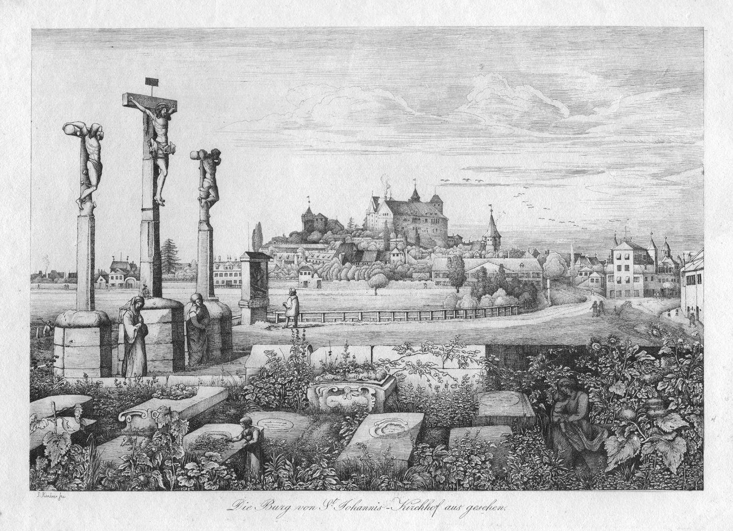 Die Burg von St Johannis-Kirchhof aus gesehen