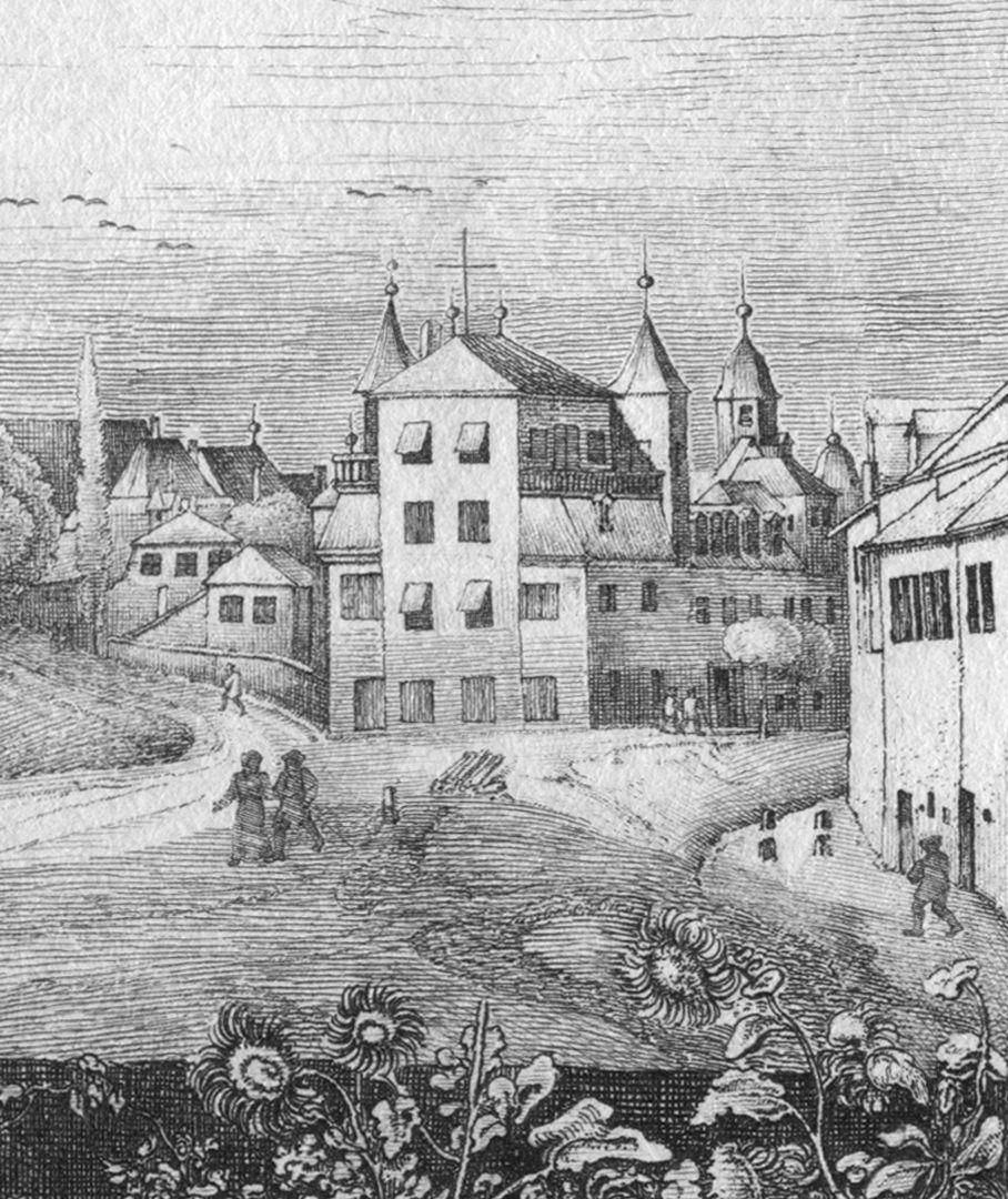 Die Burg von St Johannis-Kirchhof aus gesehen Bebauung an der Weggabelung heutige Burgschmietstraße und Johannisstraße, im Hintergrund Dachreiter der Heilig-Kreuz-Kirche