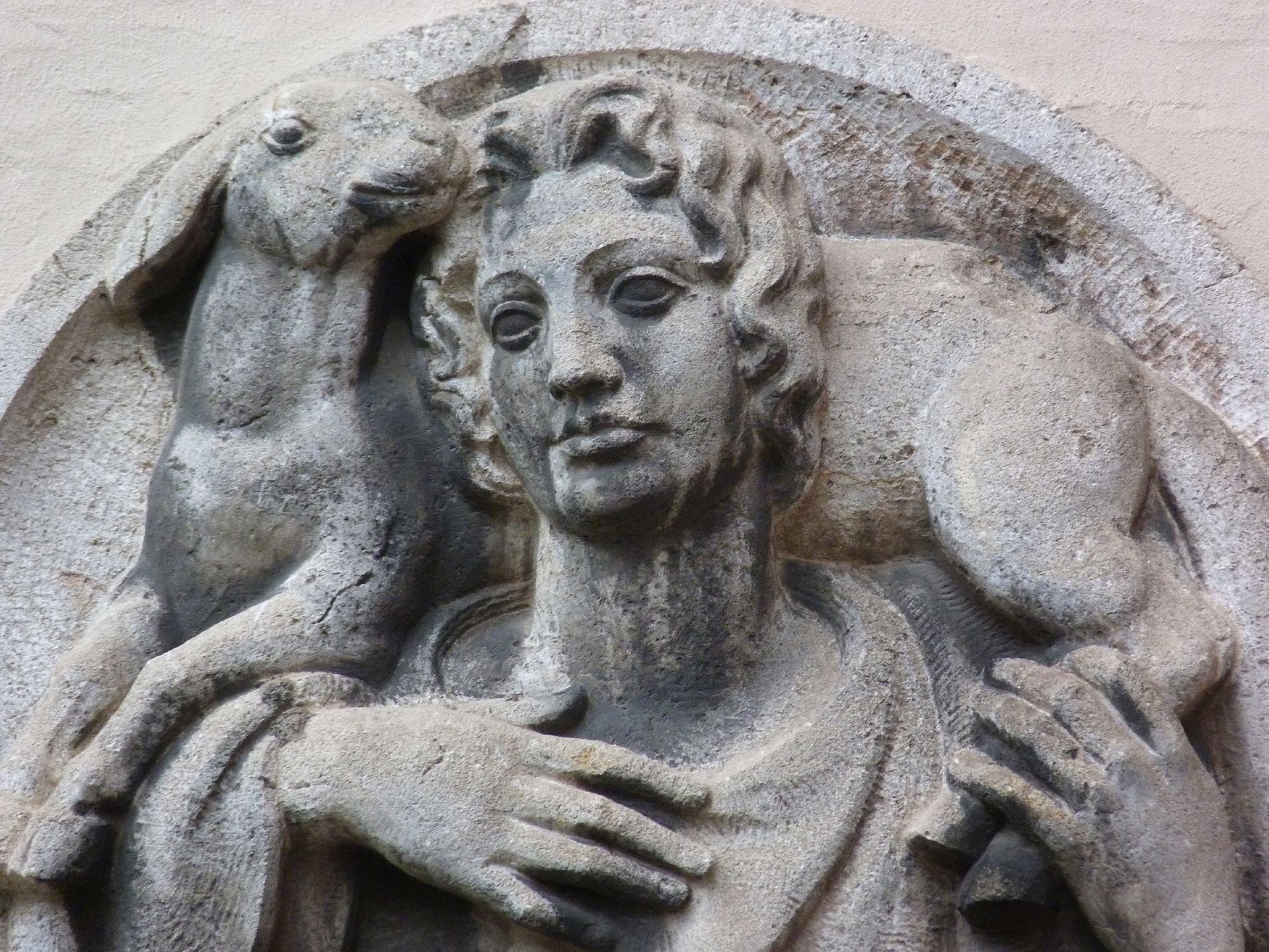 Tondo mit dem Guten Hirten (Moskoforos) Detail