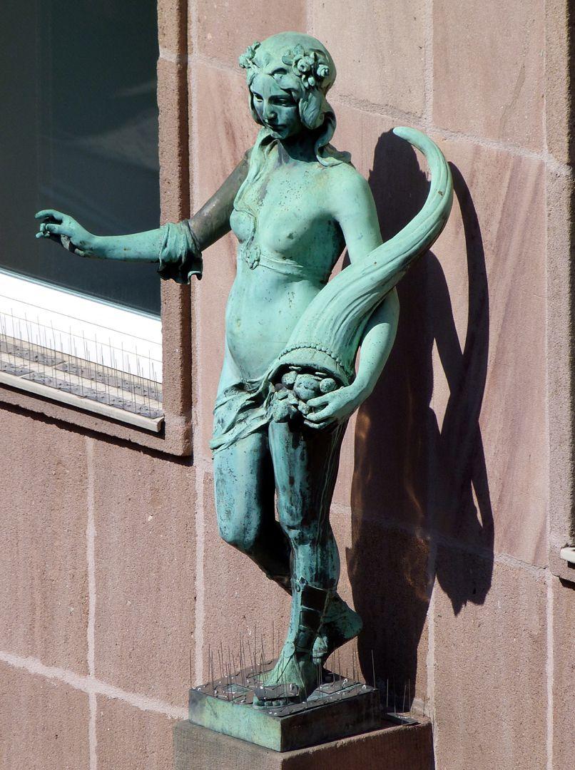 Fassadenfiguren: Noris und Fortuna Fortuna, Schrägansicht von oben