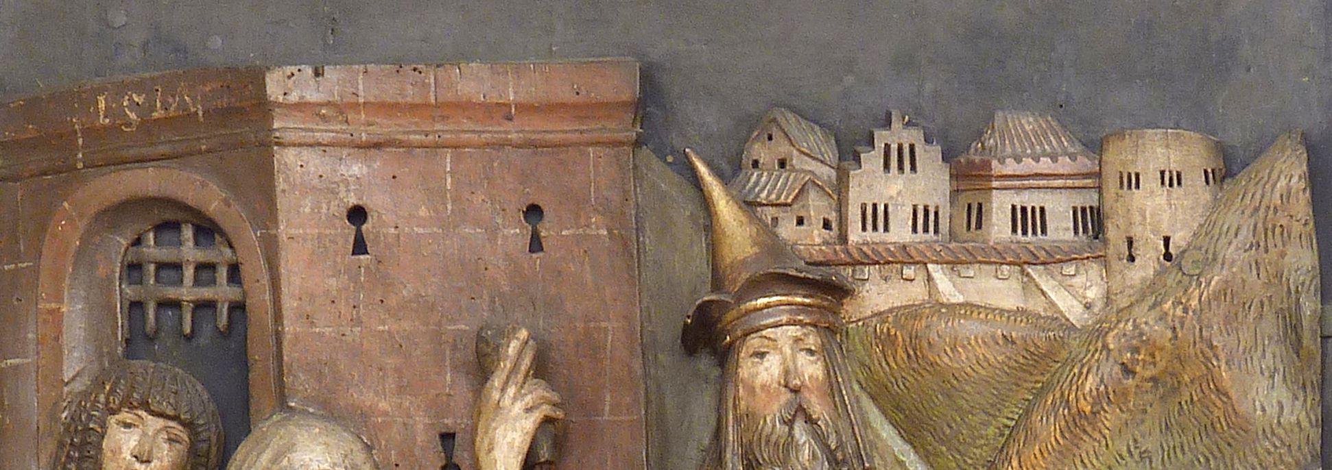 Kreuzaltar linker Flügel unten: Kreuzfall, Detail mit deutscher (!) Stadt, Datierung 1517