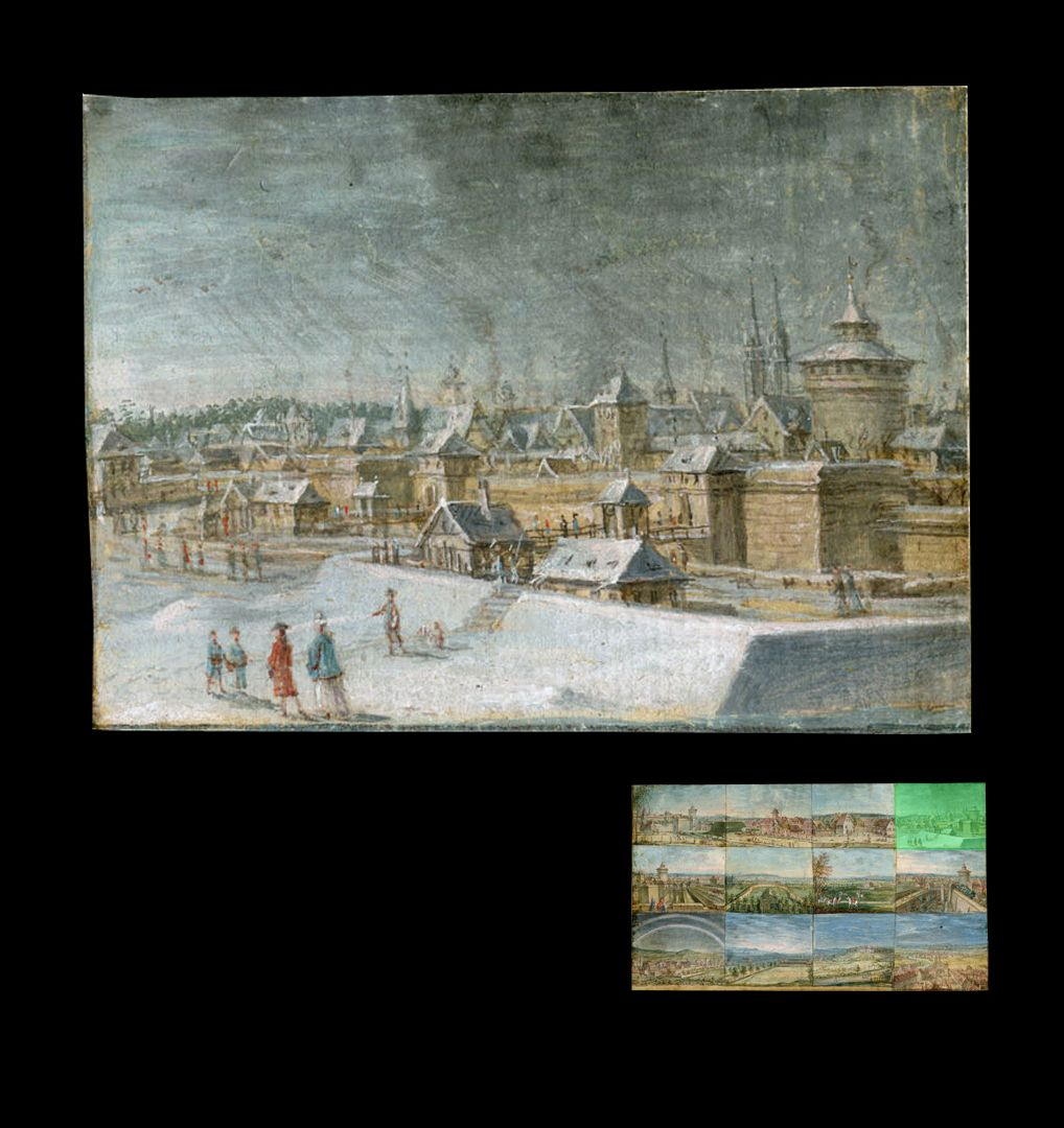 Zwölf Ansichten von Nürnberg und andernorts Laufer- und Wöhrdertor von Nordosten