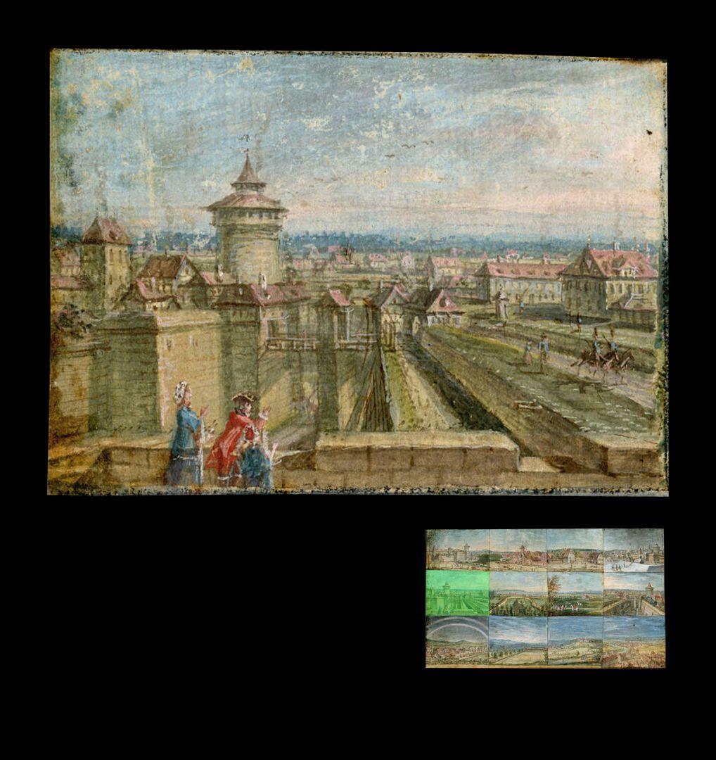 Zwölf Ansichten von Nürnberg und andernorts das Neutor von der Burgbastion aus gesehen