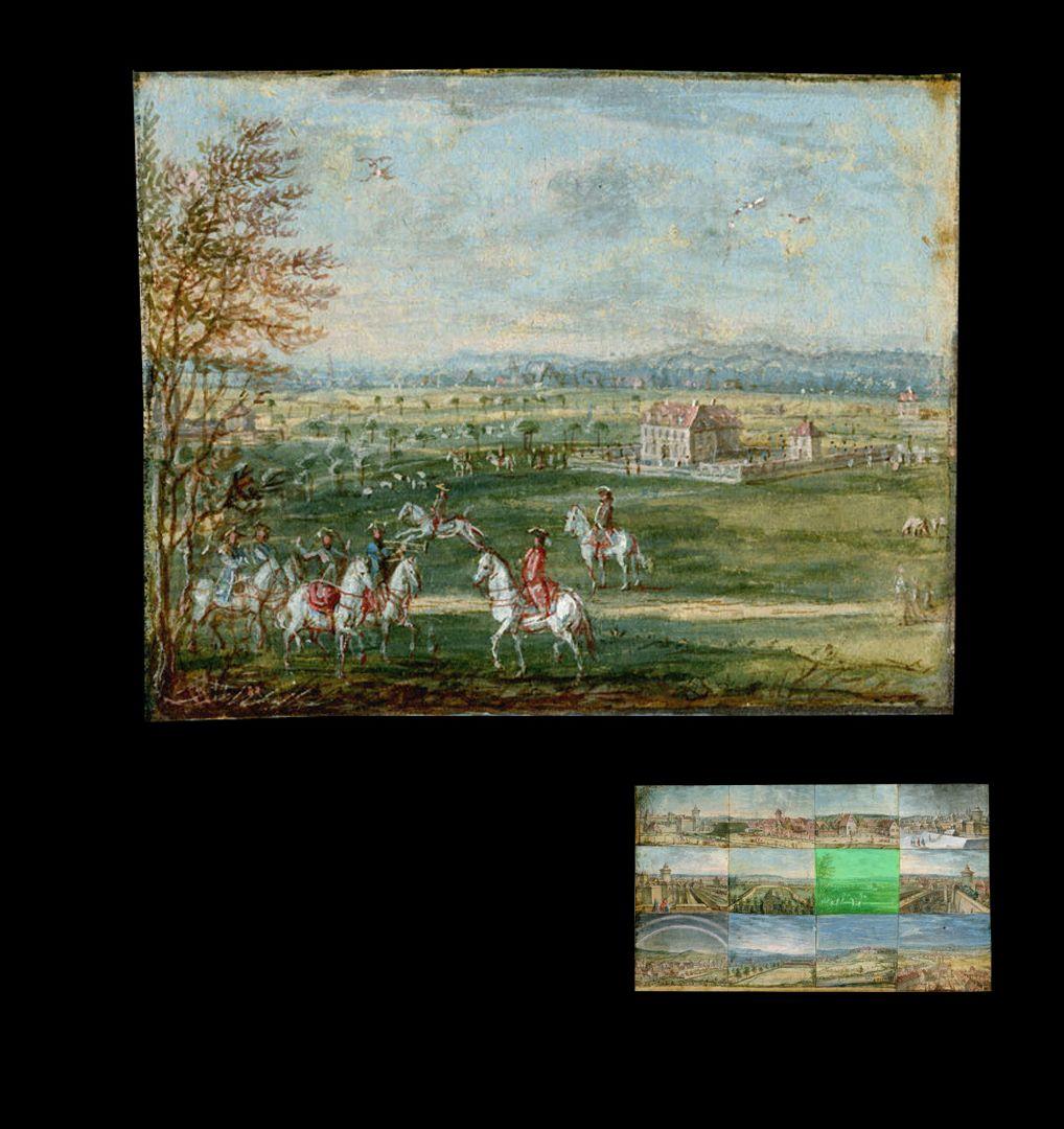 Zwölf Ansichten von Nürnberg und andernorts eine höfische Jagd, im Hintergrund ein Herrensitz