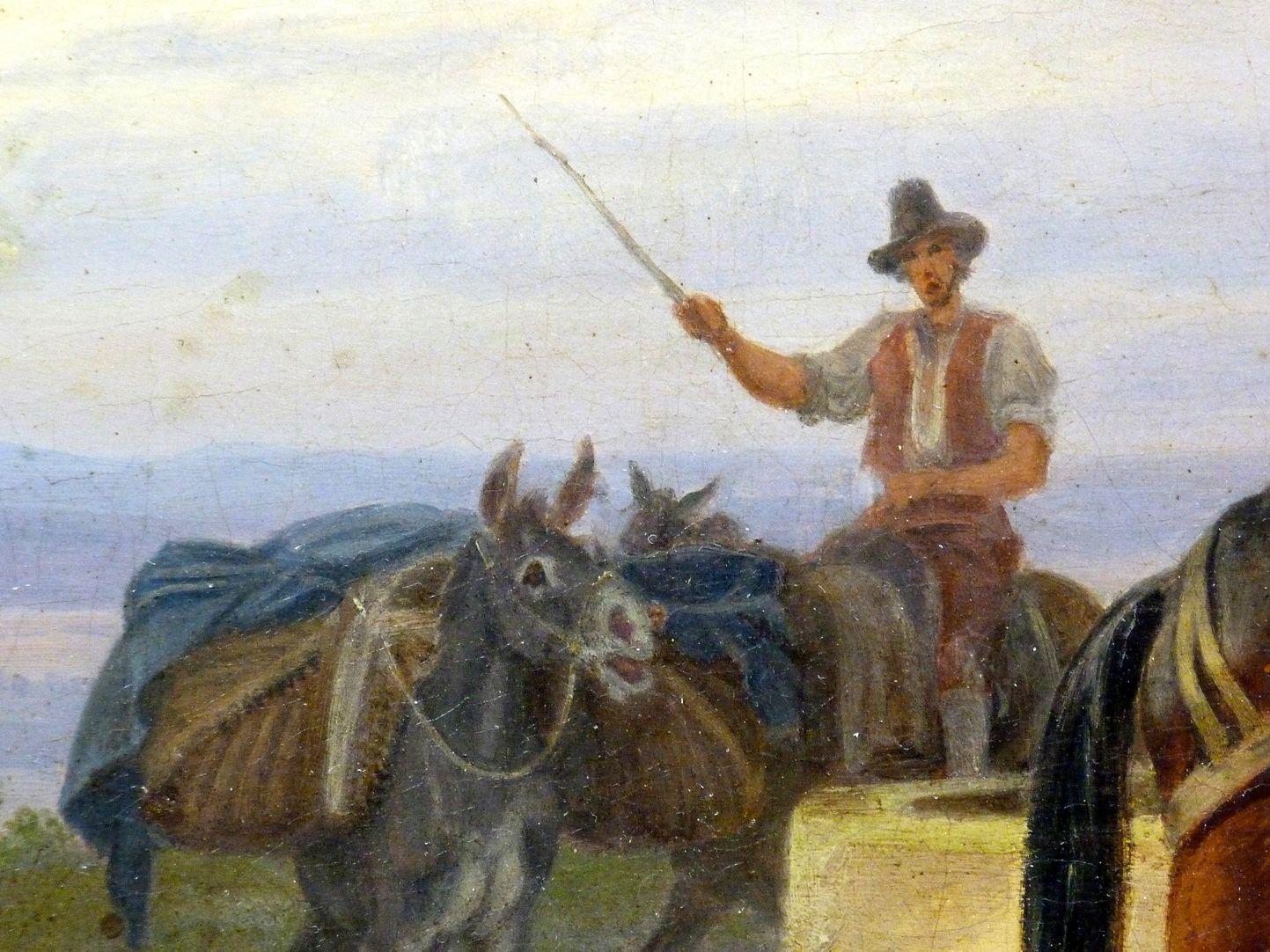 Römische Fuhrleute Detailansicht mit Fuhrmann und schreiendem Esel