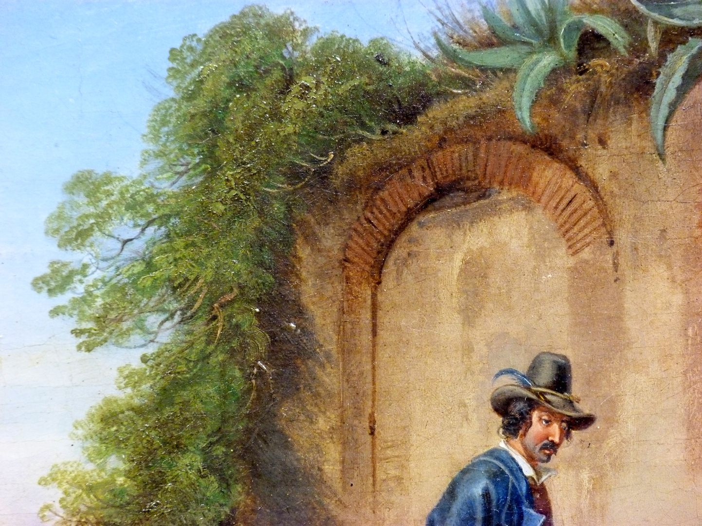 Römische Fuhrleute Detailansicht mit Portrait und Mauerpartie