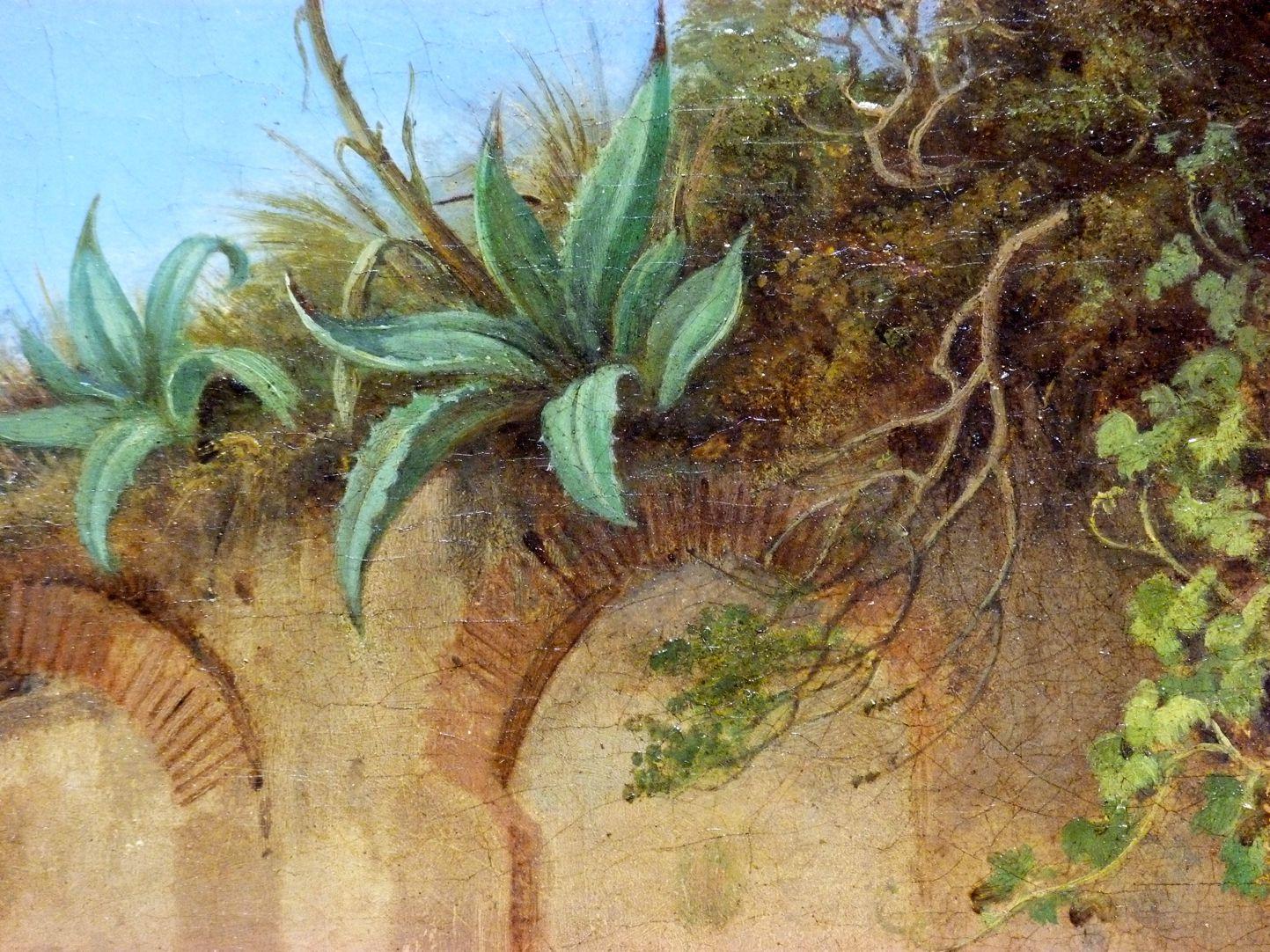 Römische Fuhrleute Detailansicht mit überwucherter Ruine