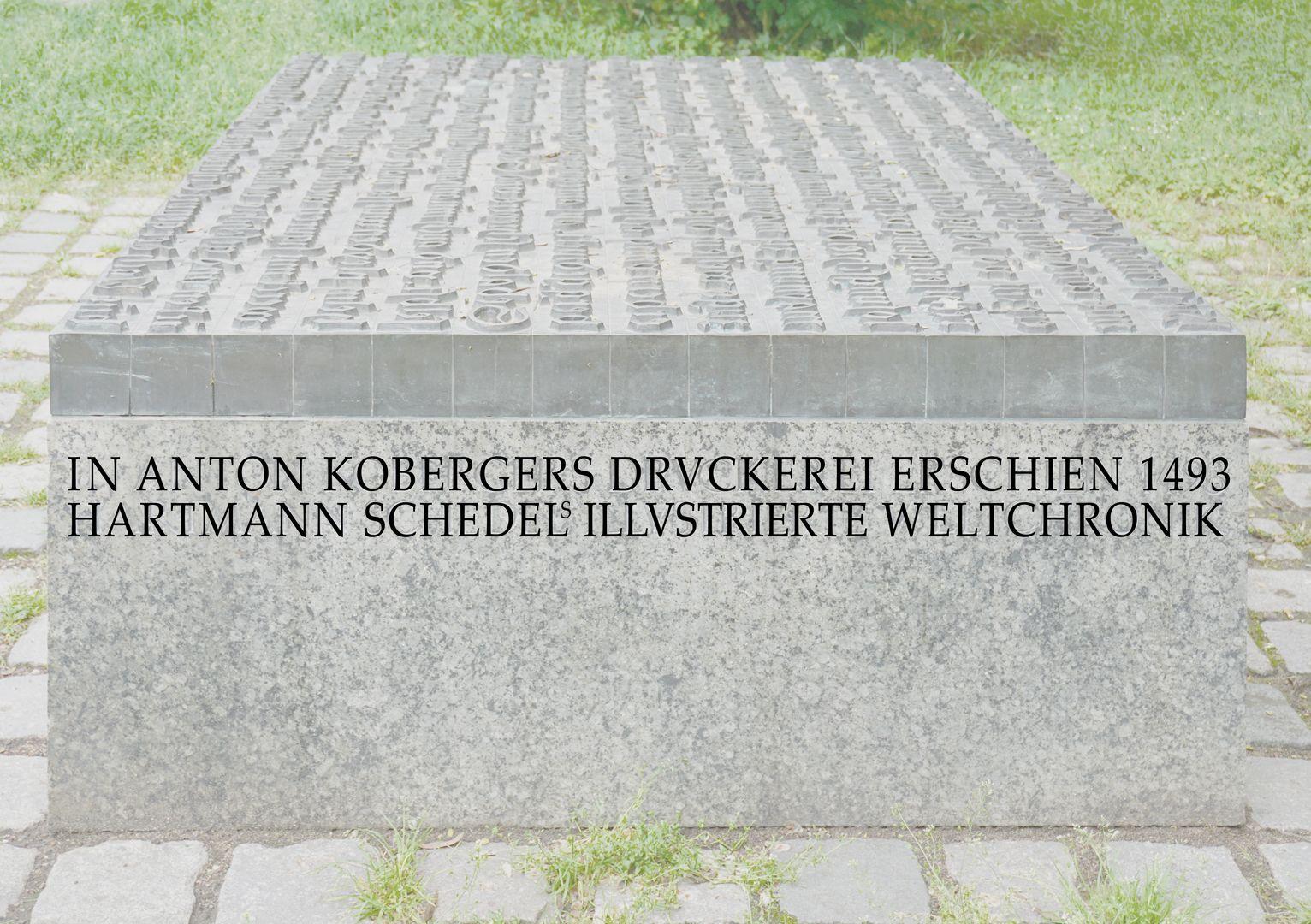 Anton Koberger / Gedenkstein Rechte Seite mit Inschrifttext (nachträgliche Fotobearbeitung)