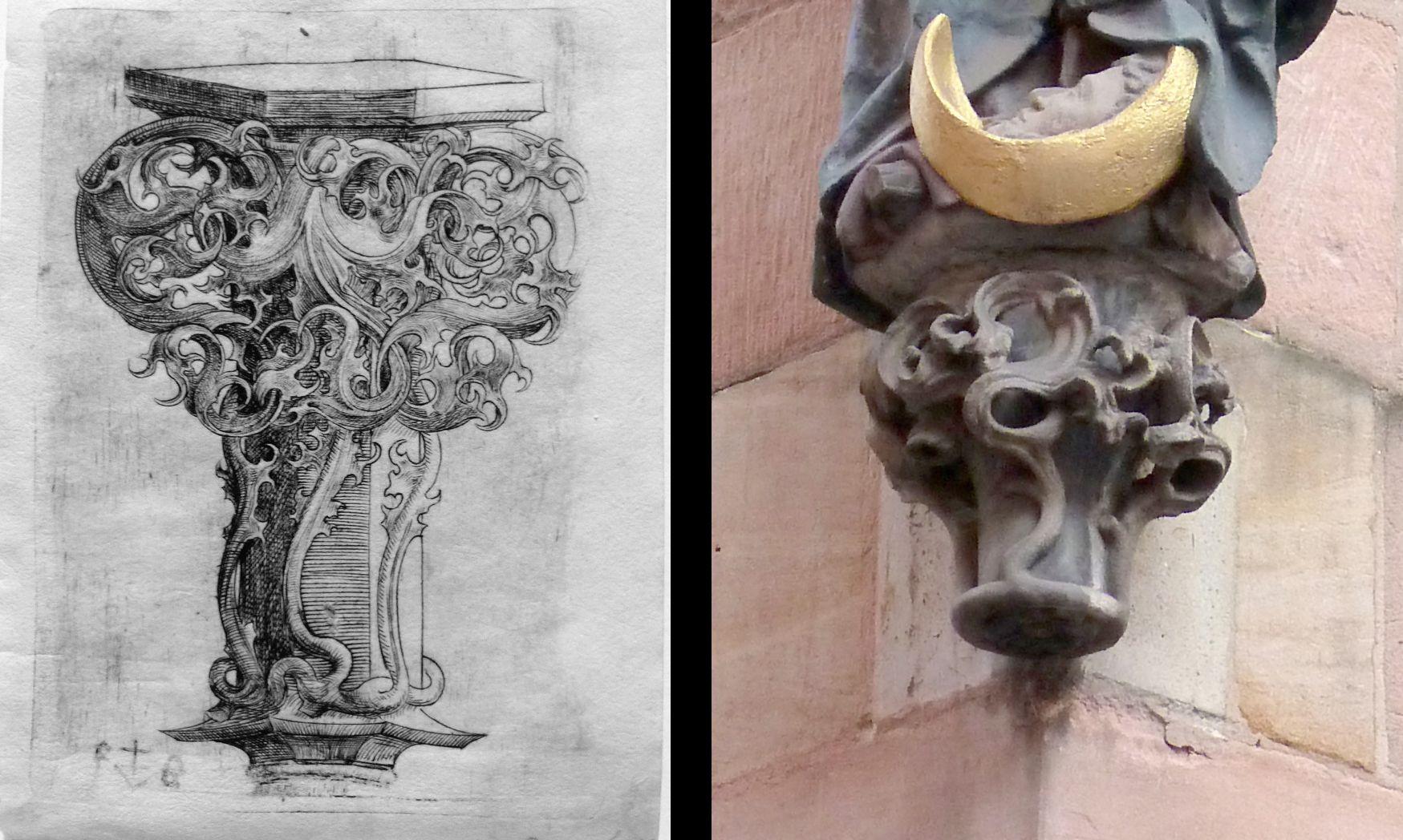 Spätgotische Konsole Konsole / Madonna am Weinmakrt 12 von Veit Stoss (1500 - 1503)