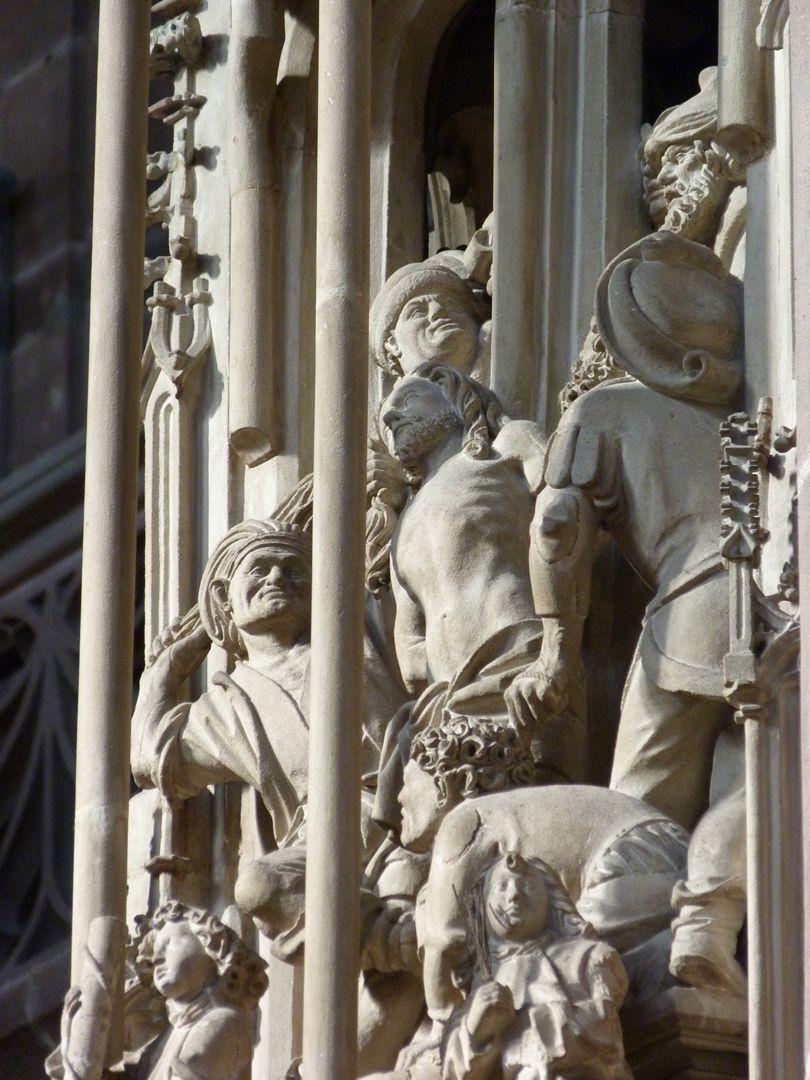 Sakramentshaus Gesprenge: Geißelung, Detail