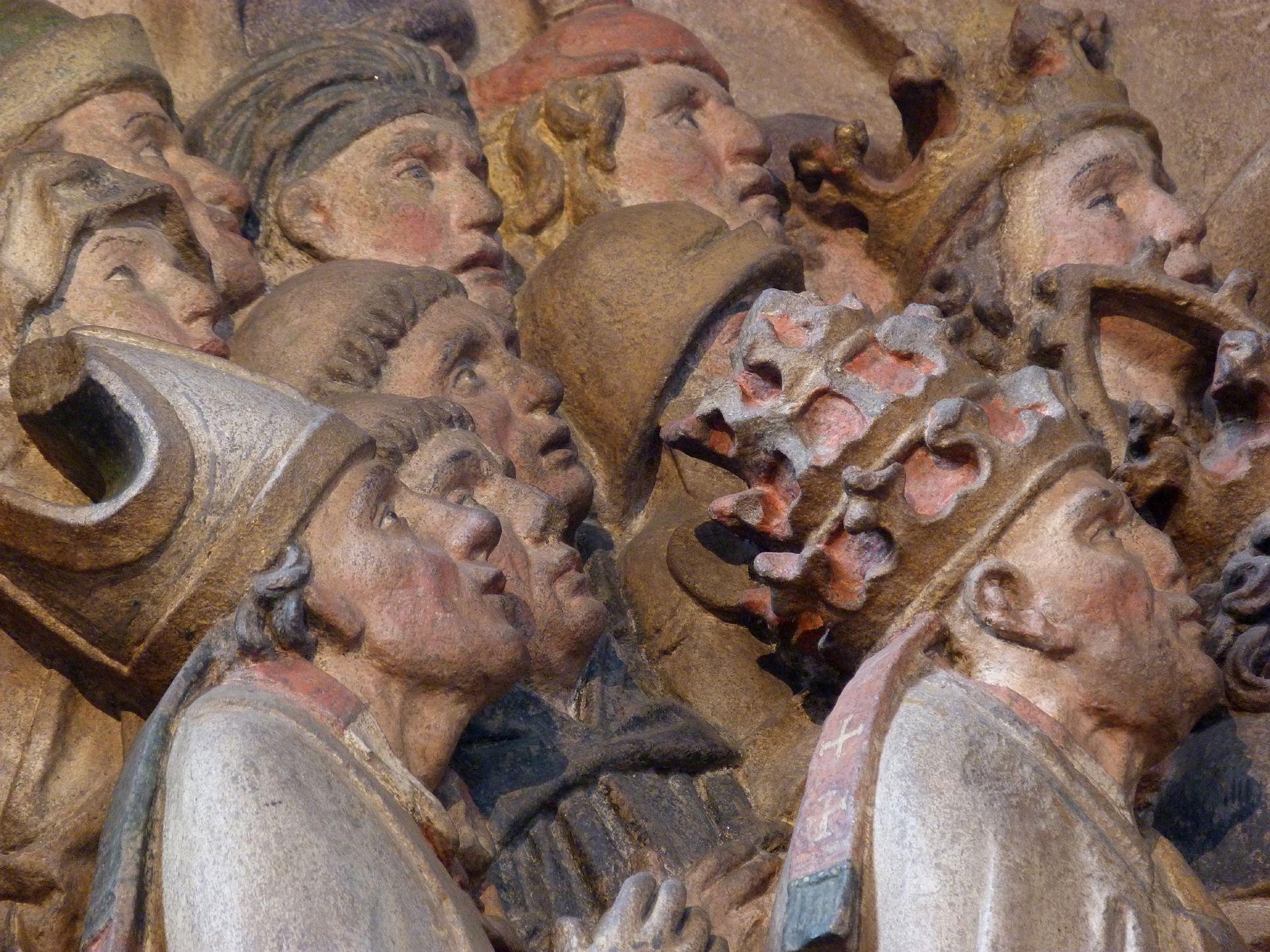Pergenstorffer-Epitaph Personengruppe links unter der Schutzmantelmadonna