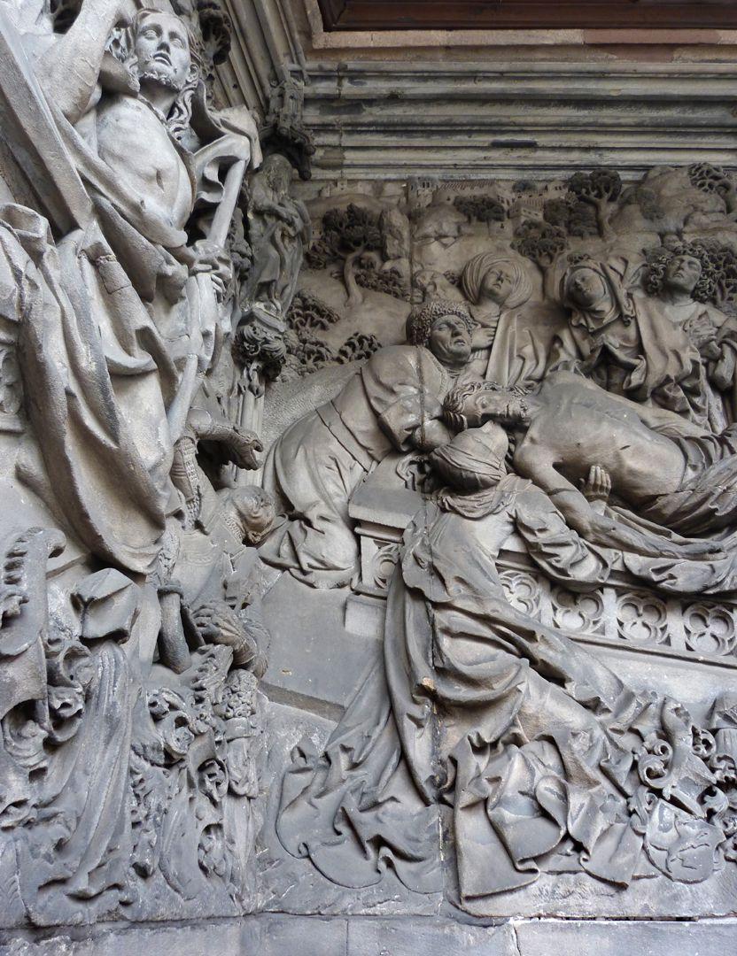 Schreyer-Landauersches Epitaph mittlere Wand: Grablegung, Beweinung mit Magdalena