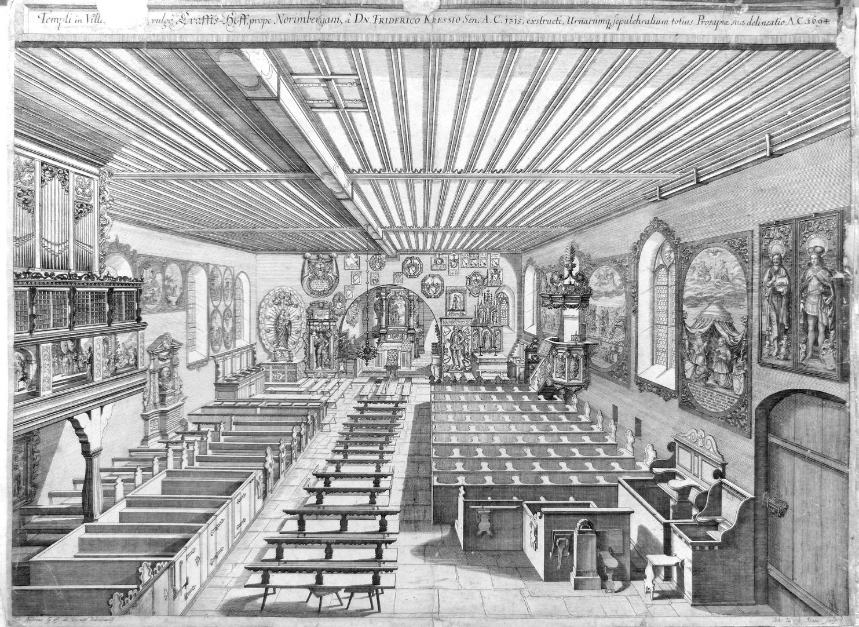 """Urbis Norimbergensis Insigniorum Templorum …"" Georgskirche in Kraftshof"
