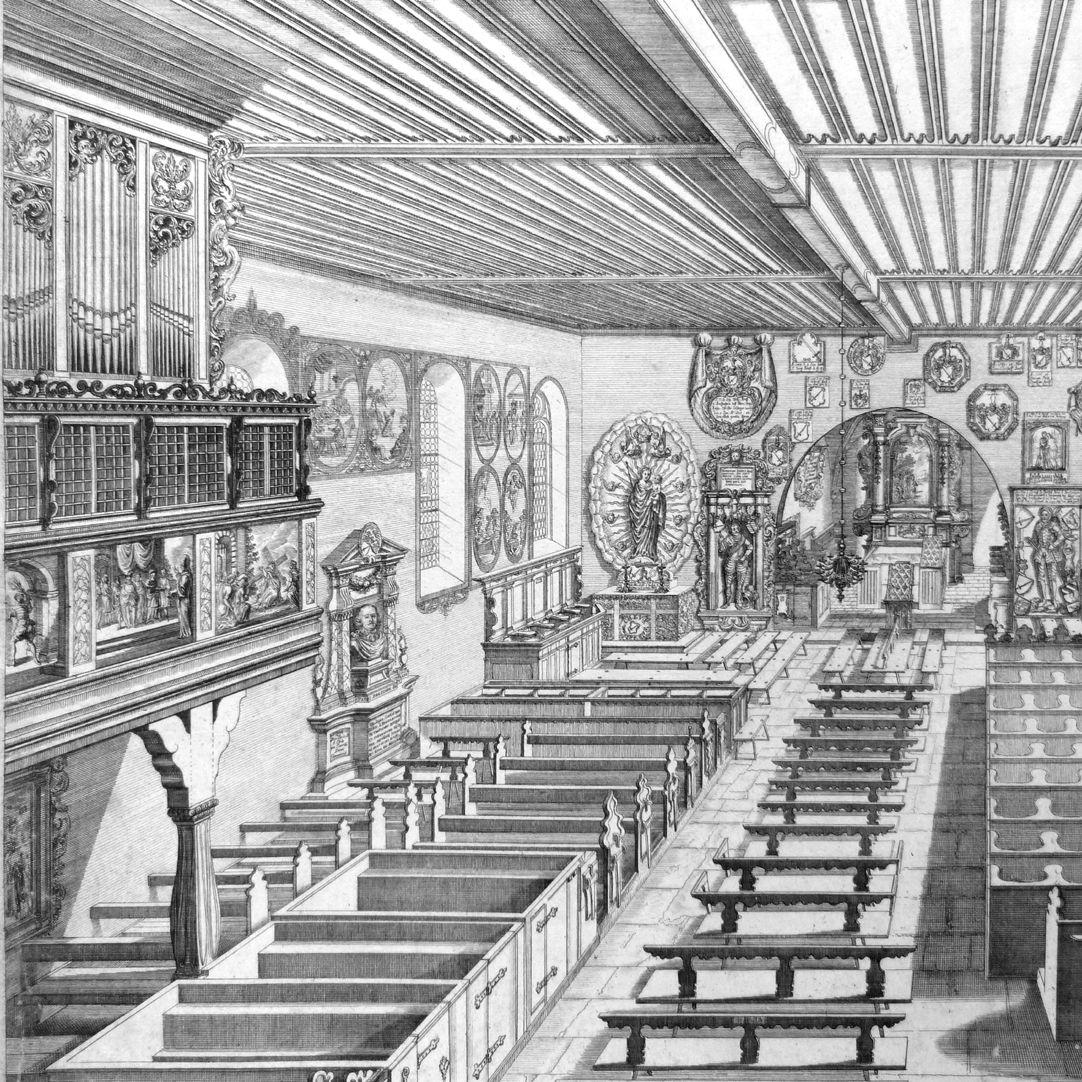 """""""Urbis Norimbergensis Insigniorum Templorum …"""" Georgskirche in Kraftshof linke Bildhälfte"""