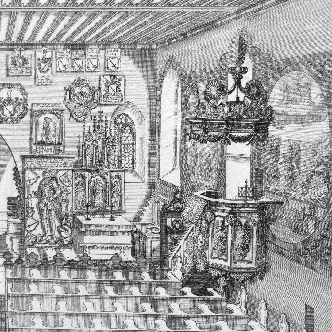 """""""Urbis Norimbergensis Insigniorum Templorum …"""" Georgskirche in Kraftshof rechte Bildhälfte, Detail"""