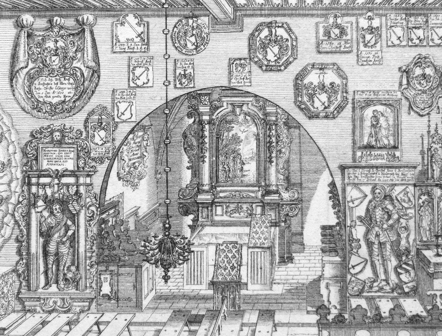 """Urbis Norimbergensis Insigniorum Templorum …"" Georgskirche in Kraftshof Blick in den Altarraum"