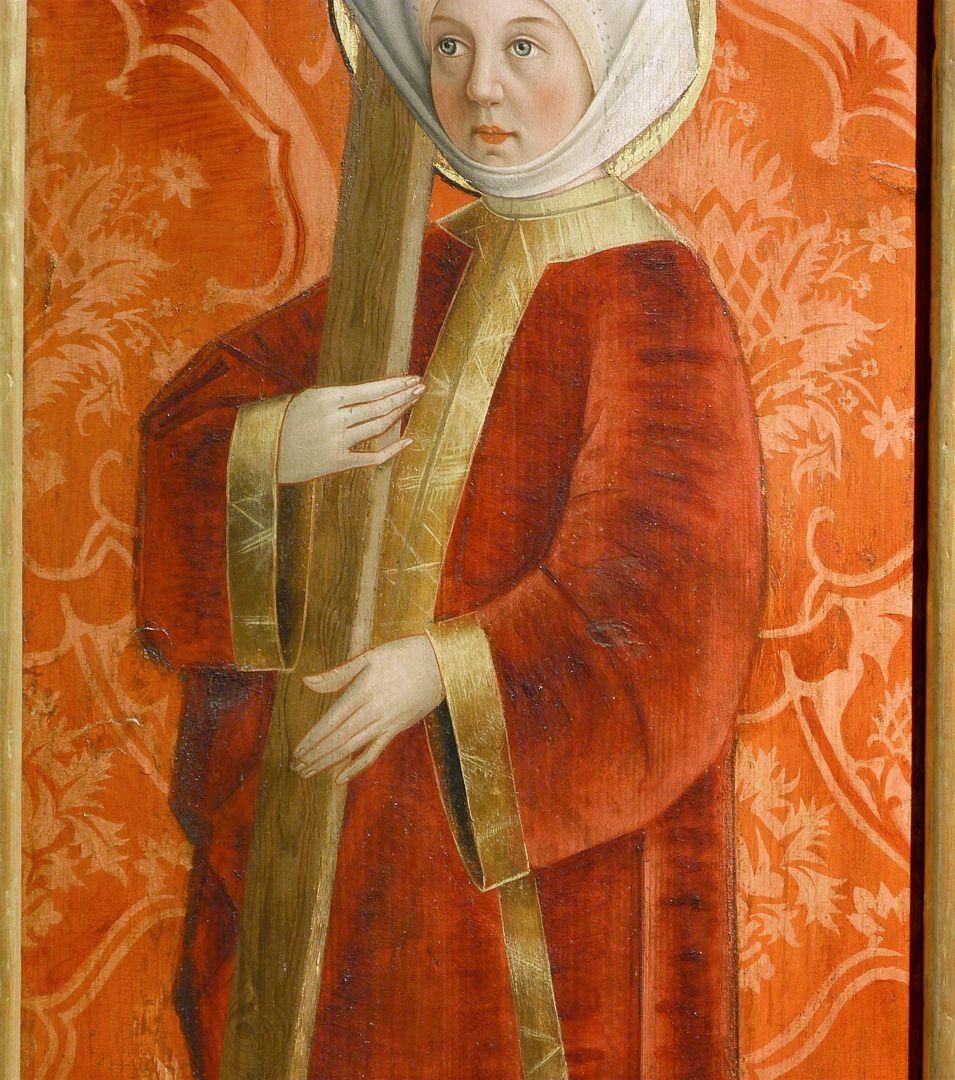 Krell-Altar rechte innere Seitentafel mit St. Helena, Detail der oberen Bildhälfte