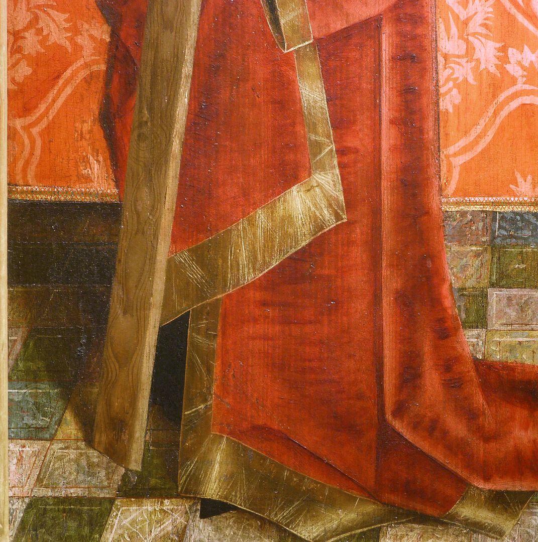 Krell-Altar rechte innere Seitentafel mit St. Helena, Detail der unteren Bildhälfte, Gewanddarstellung