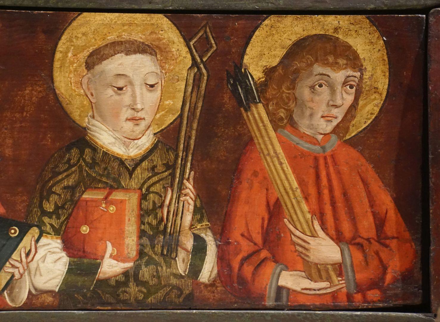 Krell-Altar linke Predellahälfte mit den Heiligen: Vincentius und Sebastian, Detailansicht