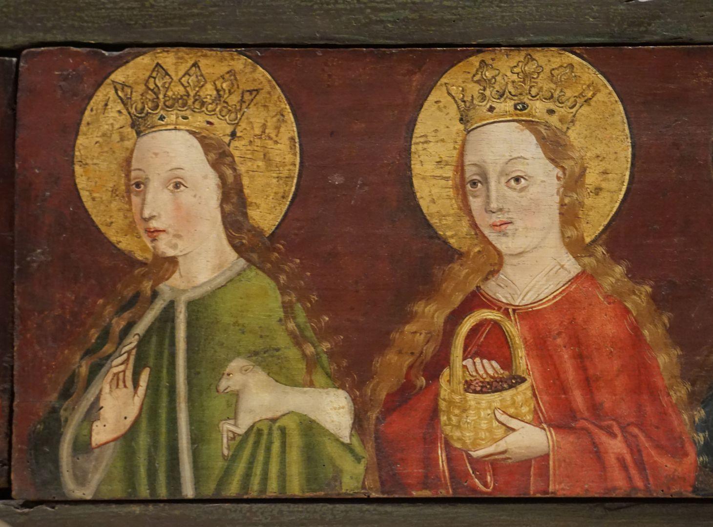 Krell-Altar rechte Predellahälfte mit den Heiligen: Agnes und Dorothea, Detailansicht