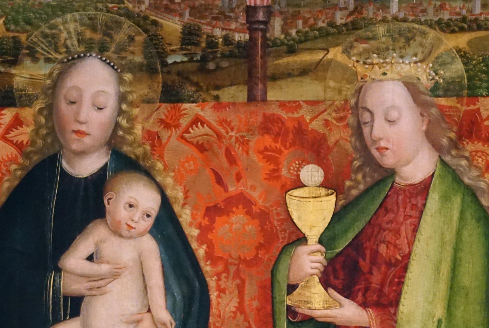 Krell-Altar oberer Bereich der Mitteltafel, Detail mit Maria und Barbara