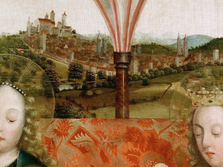 Krell-Altar oberer Bereich der Mitteltafel, Detail mit Maria, Barbara und oberer Bereich der Mitteltafel, Detail mit Maria und Stadtansicht von Nürnberg im Hintergrund