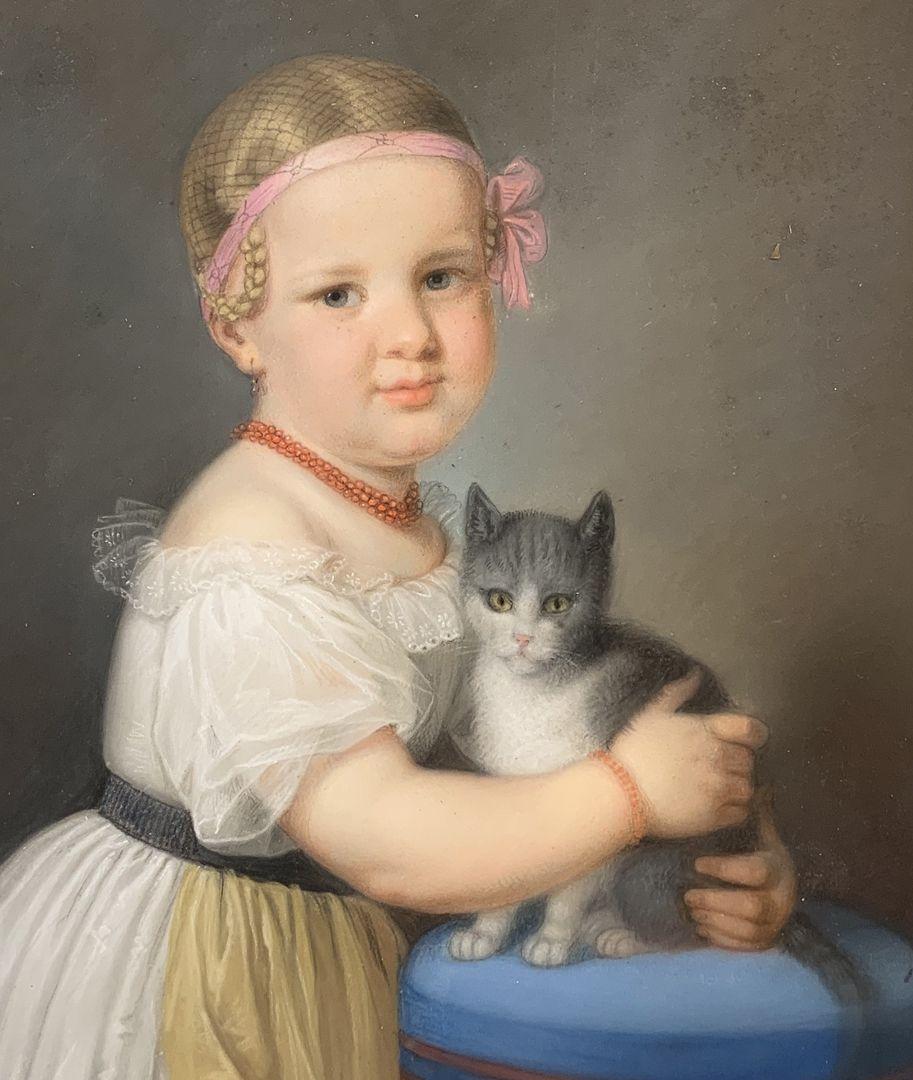 Mädchen mit Katze Detail