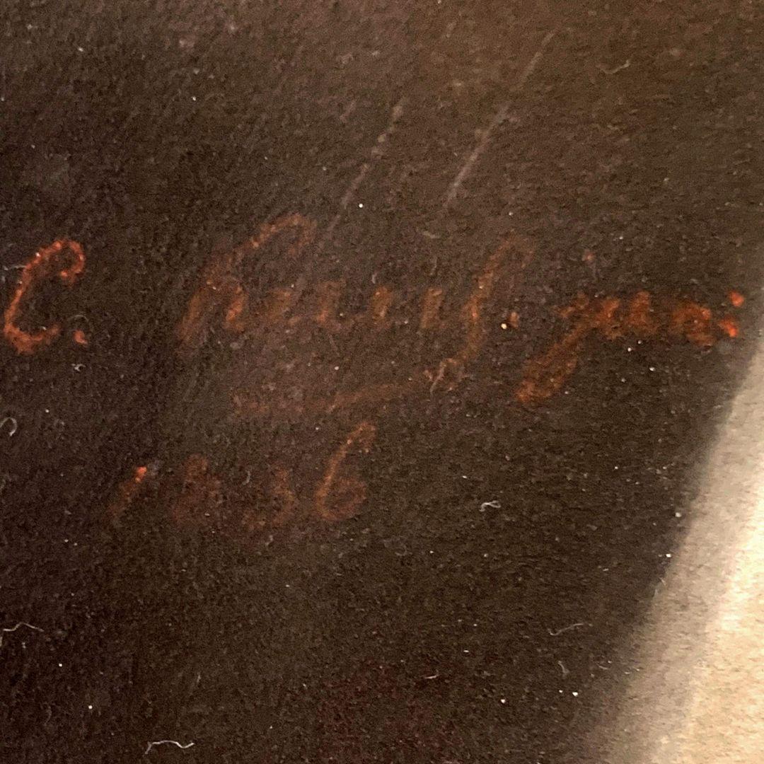Mädchen mit Katze Signatur am linken Bildrand