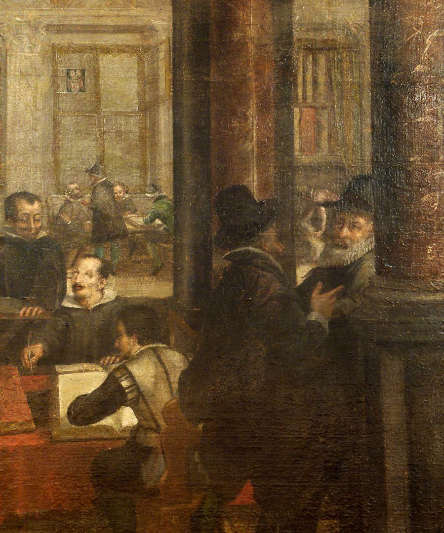 Bancoherren und Banchieri Detail: Gespräch in der Säulenhalle