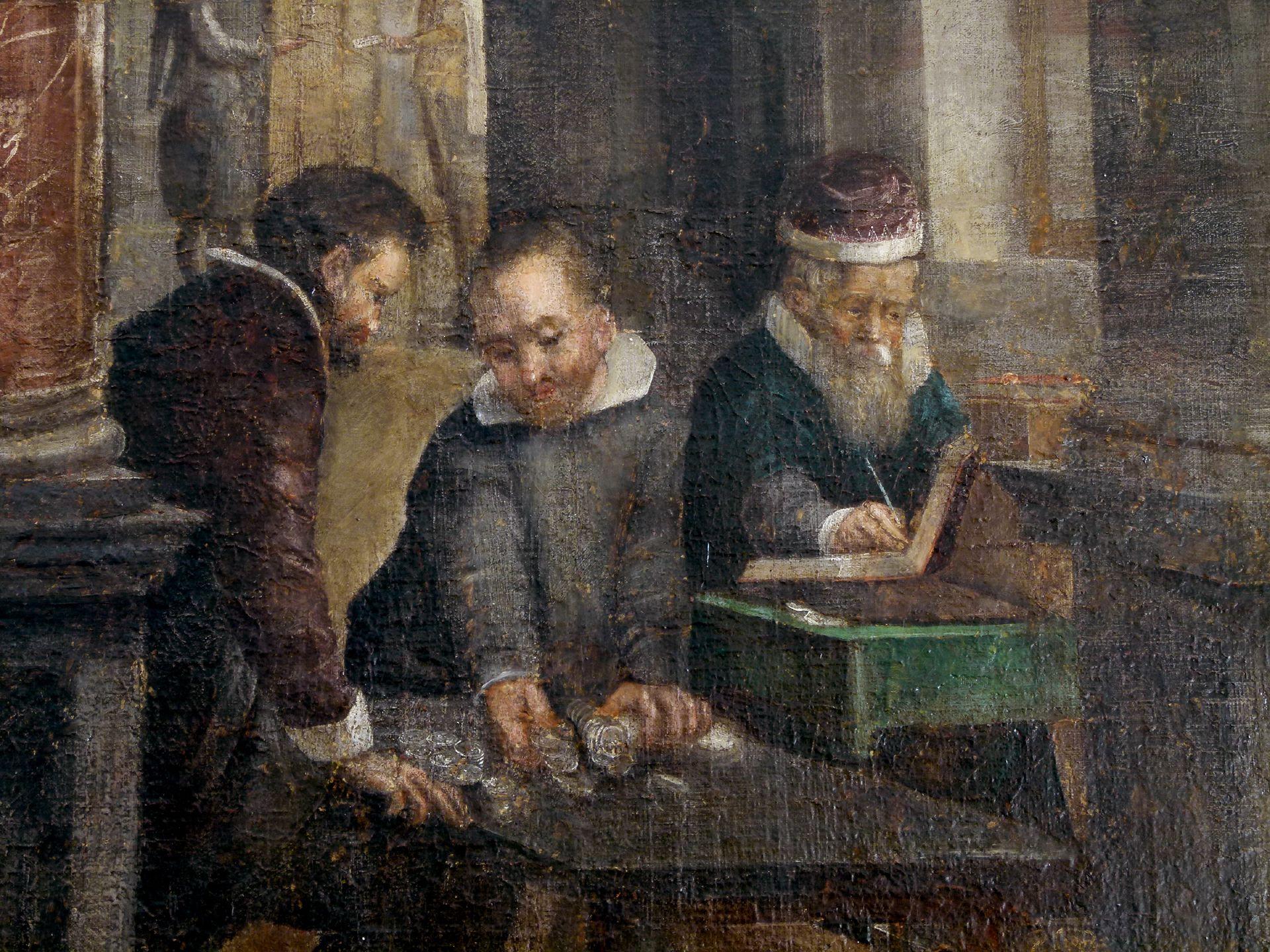Bancoherren und Banchieri Detail: Geldzählen am Kontotisch