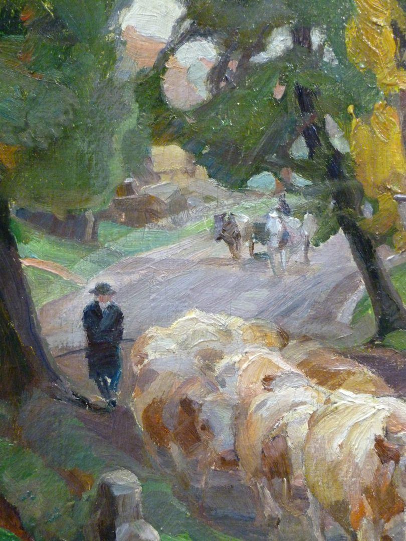 Kühe auf der Dorfstaße Hirte mit Kuhherde