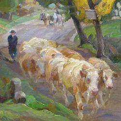 Kühe auf der Dorfstaße