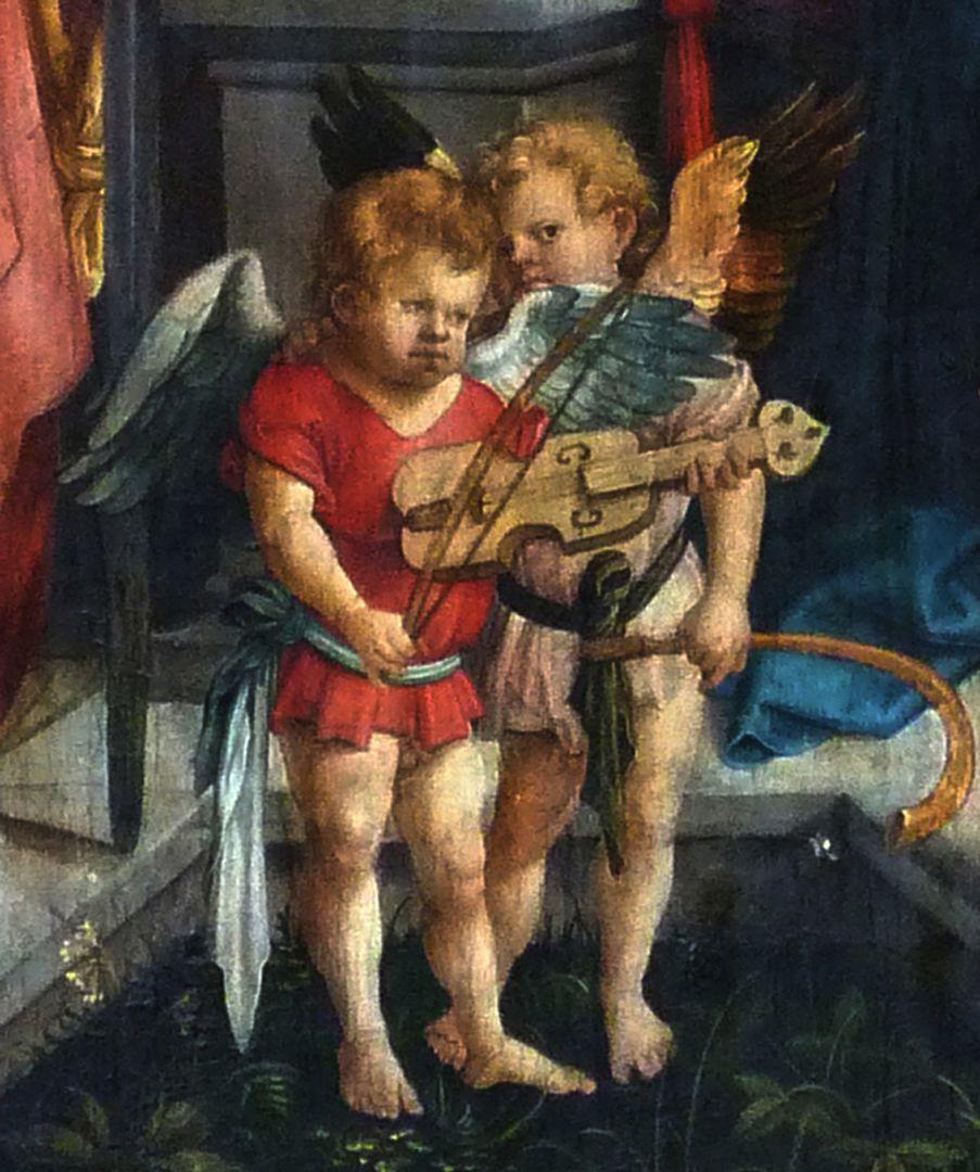 Epitaph für Propst Lorenz Tucher Mitteltafel, Detail: musizierende Engelknaben mit Fidel und Krummhorn