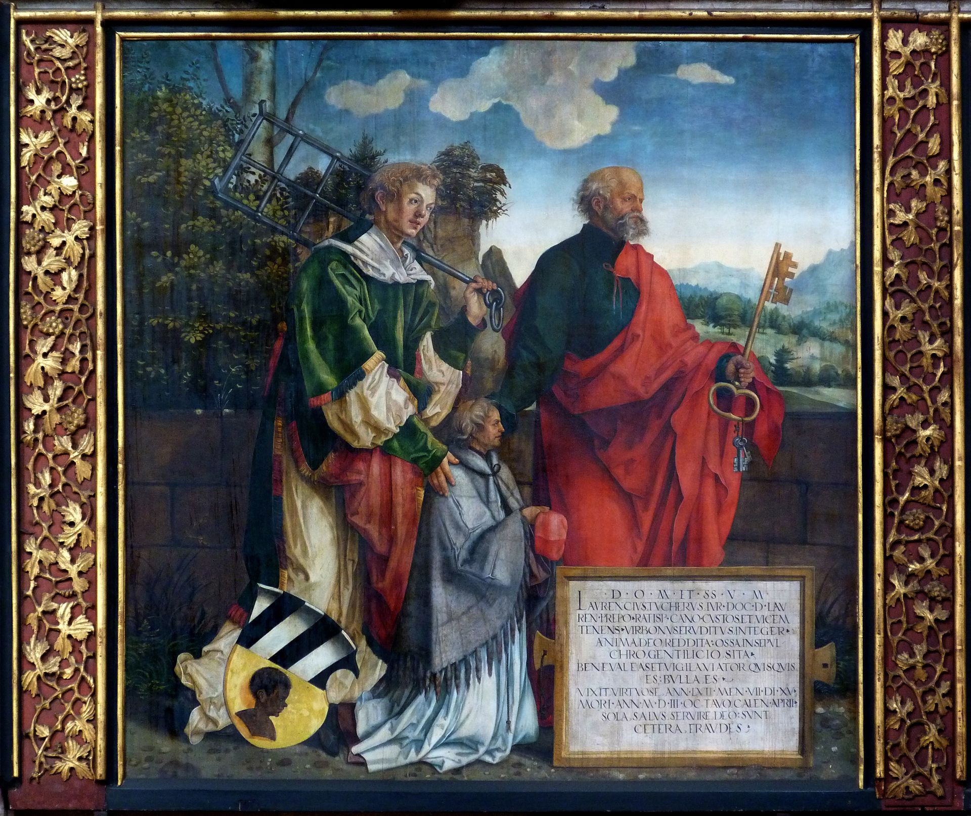 Epitaph für Propst Lorenz Tucher linke Tafel, hll. Lorenz und Petrus sowie der Propst