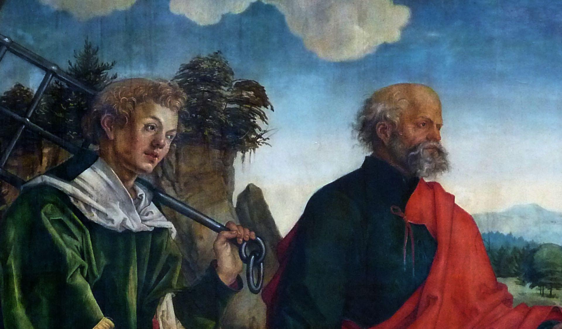 Epitaph für Propst Lorenz Tucher linke Tafel, Detail: hll. Lorenz und Petrus