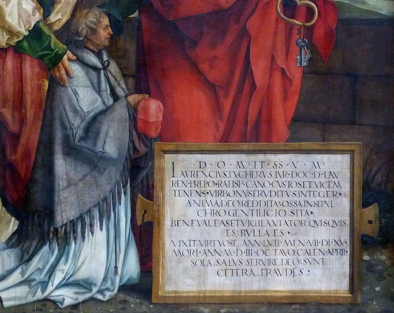Epitaph für Propst Lorenz Tucher linke Tafel, Detail: Propst und Inschrifttafel