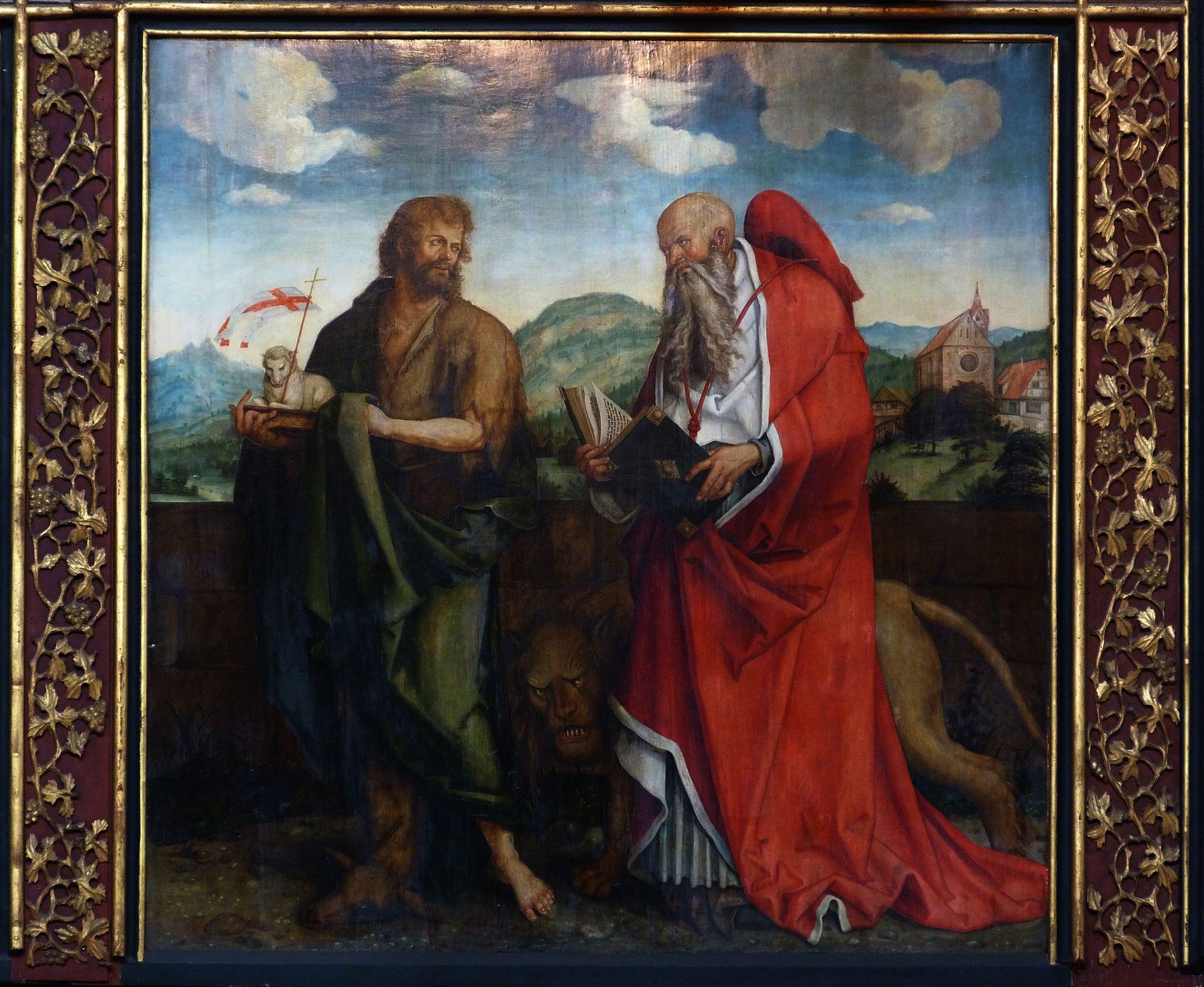 Epitaph für Propst Lorenz Tucher rechte Tafel: Johannes der Täufer und Hieronymus