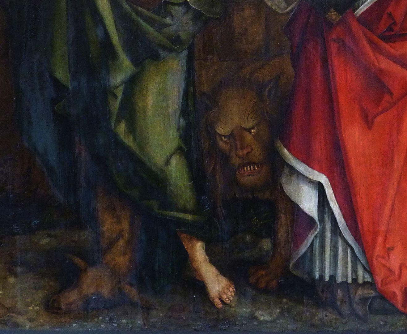 Epitaph für Propst Lorenz Tucher rechte Tafel, Detail: Löwe des Hieronymus bzw. Lammfell des Johannes