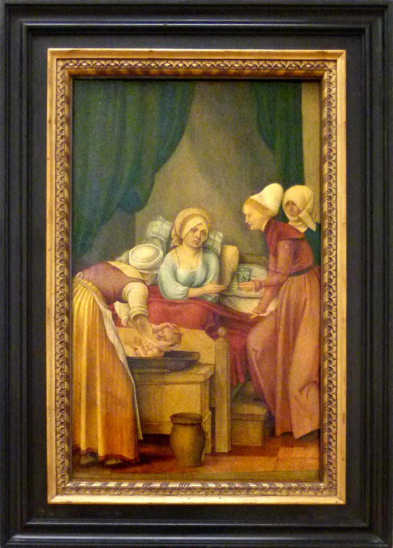 Vier Tafeln aus einem Marienleben-Altar Geburt der Maria