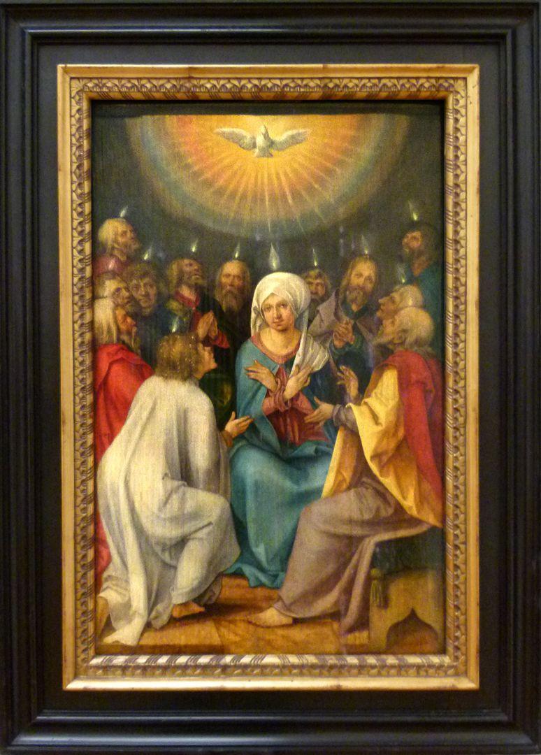 Vier Tafeln aus einem Marienleben-Altar Pfingstwunder