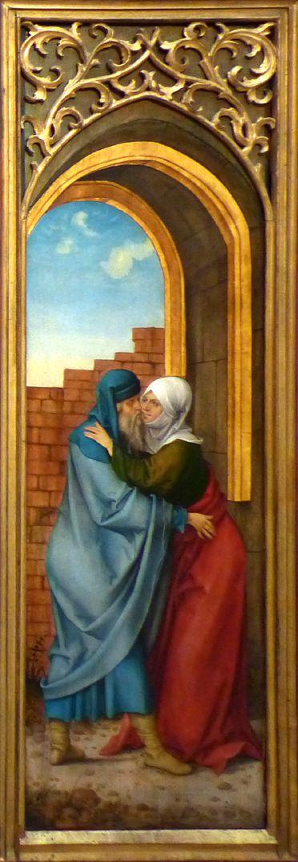 Rosenkranz Triptychon (Madrid) rechter Flügel: Begegnung Anna und Joachim an der goldenen Pforte
