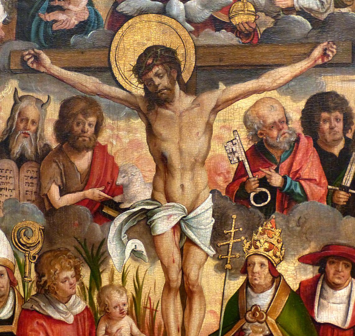 Rosenkranz Triptychon (Madrid) Christus mit links: Moses, Johannes des Täufers, Stephanus und Kind; rechts: Peter, Paulus, Gregor und Hieronymus