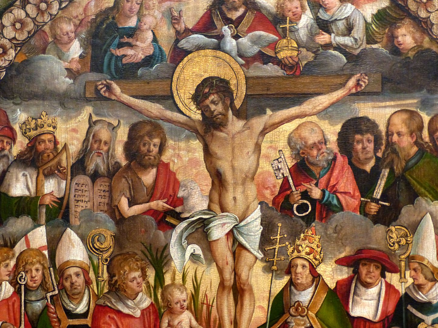Rosenkranz Triptychon (Madrid) Mittelteil, Detail, Christus zwischen Propheten , Aposteln, Heiligen und Kirchenvätern