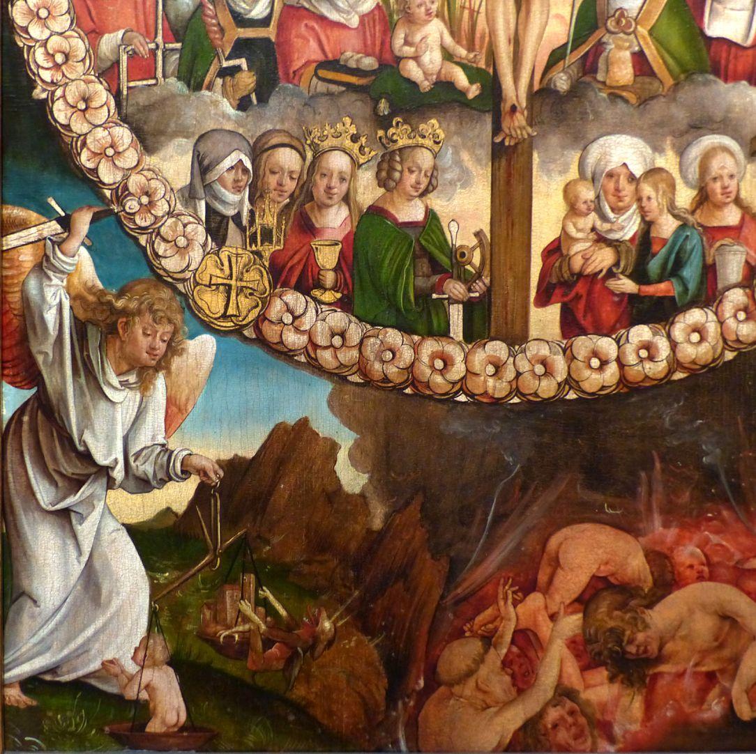 Rosenkranz Triptychon (Madrid) Mittelteil, Detail unten links: Michael der Seelenwäger und Höllenszene
